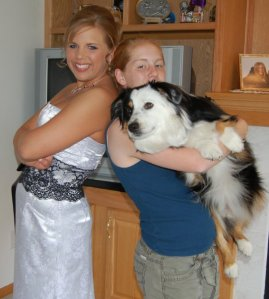 Prom Senior year with my pup and my sister, Katie!